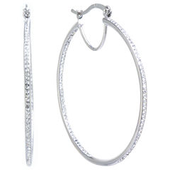 Sparkle Allure Clear Silver Over Brass Hoop Earrings