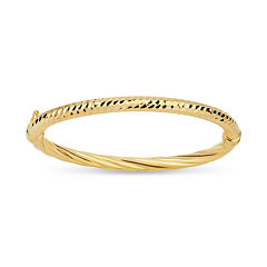 Made In Italy Womens 18K Gold Over Silver Bangle Bracelet