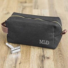 Personalized Waxed Canvas and Leather Dopp Kit