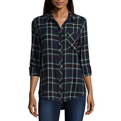 Arizona Long-Sleeve Boyfriend Plaid Shirt- Juniors