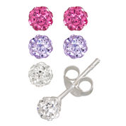 Children's Sterling Silver 3-pc 4mm Crystal Ball Stud Earring Set