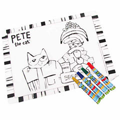 Kids Preferred Pete The Cat Placemat With 4 Washable Markers Interactive Toy - Unisex