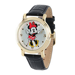 Disney Minnie Mouse Womens Black Leather Strap Watch