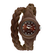 TKO ORLOGI Womens Crystal-Accent Braided Brown Silicone Strap Wrap Watch