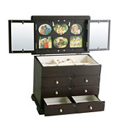 Kathy Ireland Black-Finish Photo Frame Jewelry Box