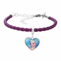 Disney Elsa And Anna Brass Heart Charm Pleather Dangle Bracelet