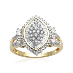 1/2 CT. T.W. Diamond 10K Yellow Gold Cocktail Cluster Ring