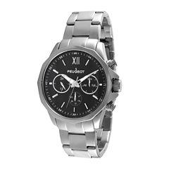 Peugeot® Mens Stainless Steel Link Bracelet Watch 1046SBK