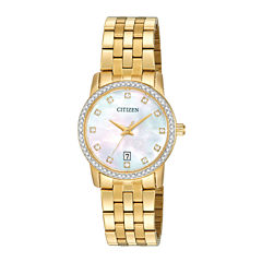 Citizen® Womens Crystal-Accent Gold-Tone Stainless Steel Bracelet Watch EU6032-51D