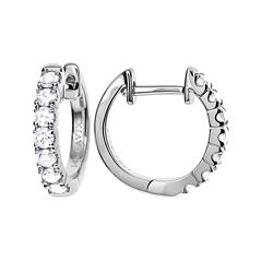 LIMITED QUANTITIES 1/2 CT. T.W. Diamond 14K White Gold Hoop Earrings