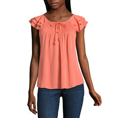 Self Esteem Short Sleeve Boat Neck Woven Blouse-Juniors