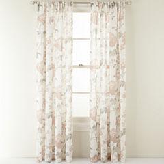 MarthaWindow™ Faded Floral Rod-Pocket Sheer Panel
