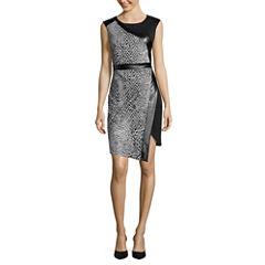 Worthington® Cap-Sleeve Faux-Leather Trim Sheath Dress