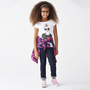 Button-Front Woven Shirt, Embellished Graphic Tee or Skinny Jeans - Girls 7-16 and Plus