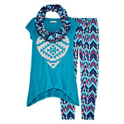One Step Up® 3-pc. Top, Leggings and Scarf Set - Girls 7-12