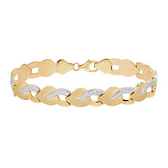 Two-Tone 10K Gold Stampato Heart Bracelet