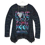 Self Esteem® Long-Sleeve Graphic Sharkbite Tunic with Necklace - GirlsSmall-XXLPlus