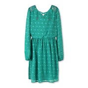 Speechless® Long-Sleeve Jade Clip Dot Chiffon Peasant Top - Girls Plus