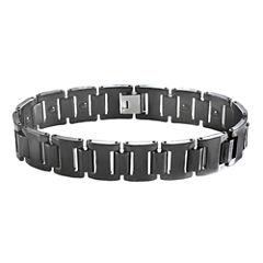 Men's Stainless Steel & Black Ceramic Link Bracelet