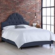 Belfort Upholstered Linen Arched Tufted Bed