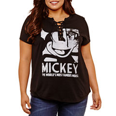Short Sleeve V Neck Mickey Mouse Graphic T-Shirt