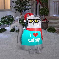 Christmas Nerdy Cat Airblown Lawn Decor