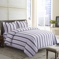 Tribeca Living Stripe Printed 3-pc. Duvet Cover Set