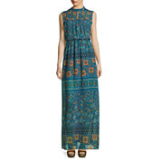 Love Reigns Sleeveless Smock-Neck Printed Boho Maxi Dress - Juniors