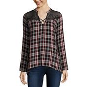 Self Esteem® Long-Sleeve Plaid Lace-Yoke Flyaway Shirt - Juniors