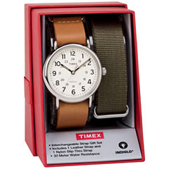 Timex Weekender 40 Box Set Mens Brown 2-pc. Watch Boxed Set-Twg015100jt