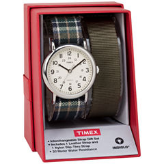 Timex Weekender 38 Box Set Womens Green 2-pc. Watch Boxed Set-Twg015300jt