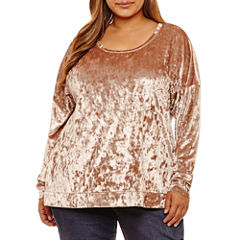Boutique + Long Sleeve Velvet Sweatshirt-Plus