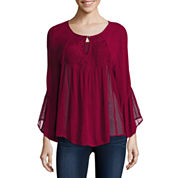 Trixxi® 3/4-Sleeve Lace Peasant Top - Juniors
