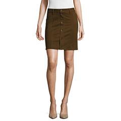a.n.a® Button-Front A-Line Skirt