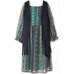Speechless® 3/4-Sleeve Peasant Dress with Fringe Vest - Girls 7-16 and Plus