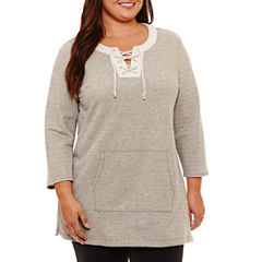 Liz Claiborne Kanga Pocket Lace Up Tunic- Plus