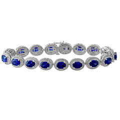 Lab Created Blue Sapphire & Diamond-Accent Sterling Silver Bracelet