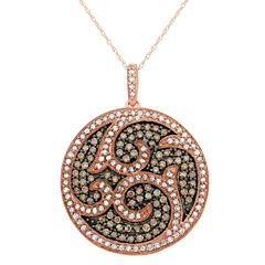 Womens 1 1/2 CT. T.W. Brown Diamond 10K Gold Pendant Necklace