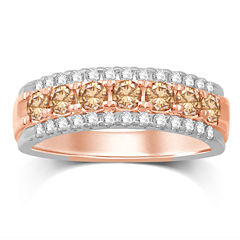 Womens 1 CT. T.W. Genuine White Diamond 10K Gold Wedding Band