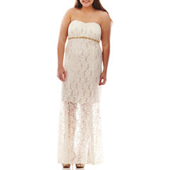 My Michelle® Strapless Embellished Lace Gown - Juniors Plus