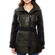 KC Collections Mixed Media Belted Puffer Jacket