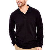 St. John's Bay® Long-Sleeve Solid Sueded Polo