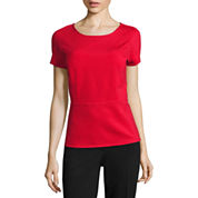 Liz Claiborne® Short-Sleeve Textured Peplum Top