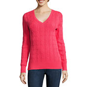 St. John's Bay® Essential Long-Sleeve Cable-Knit Sweater - Tall