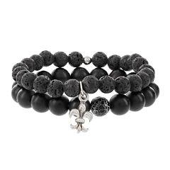Dee Berkley Mens Black Agate and Lava Stone Bead Stretch Bracelets