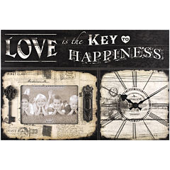 FirsTime® Love Is Key Wall Clock with Plaque and Picture Frame