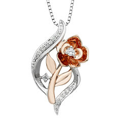 Enchanted By Disney Womens 1/10 CT. T.W. White Diamond Sterling Silver Gold Over Silver Pendant Necklace