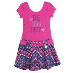 Lilt Short Sleeve Drop Waist Dress - Toddler Girls