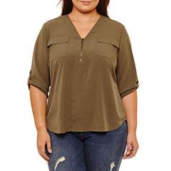 Boutique + 3/4 Sleeve Zip Front Woven Blouse-Plus
