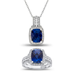 Lab Created Blue & White Sapphire Sterling Silver 2-pc Jewelry Set